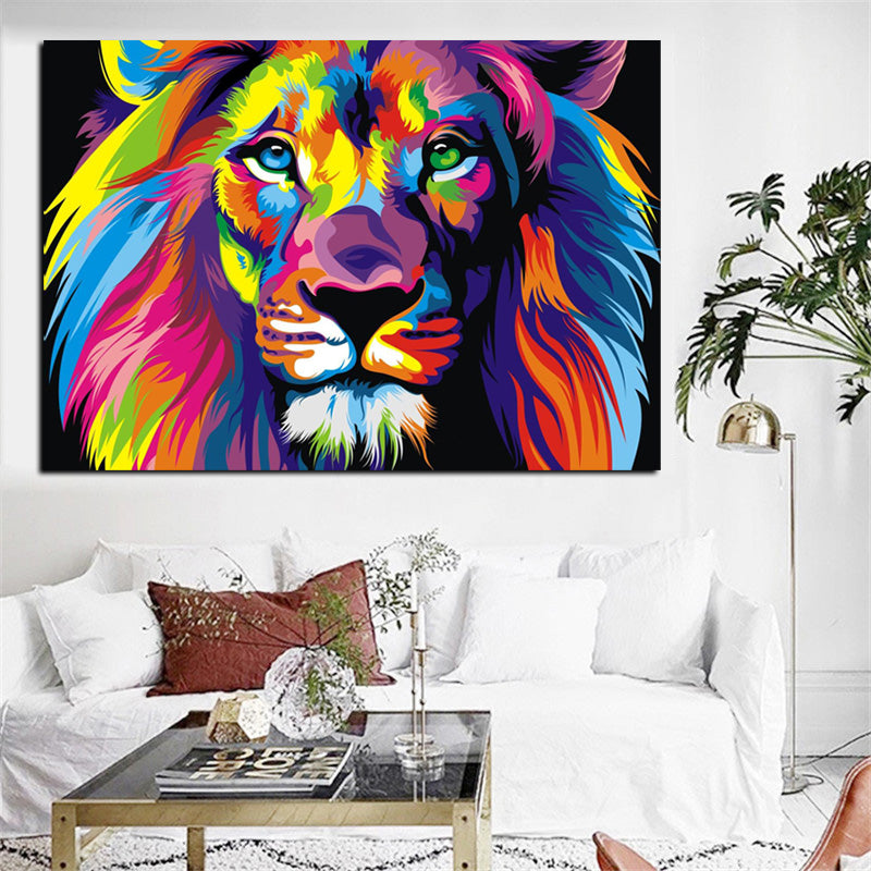 Lion Pop Art Print - Canvas Wall Art - Animal - Vegan Art