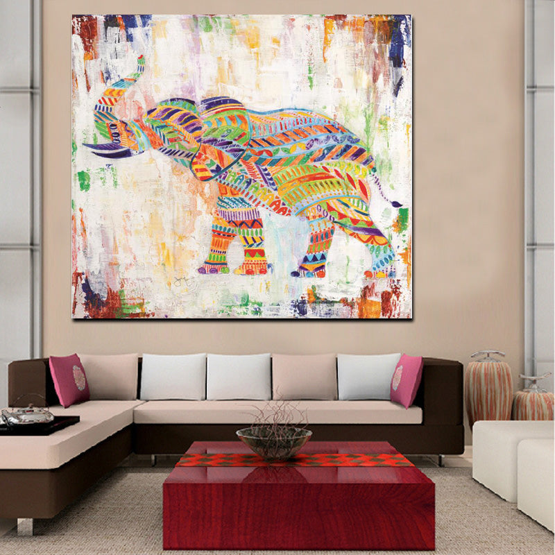 Rainbow Colored Elephant and Zebra Print - Wall Art