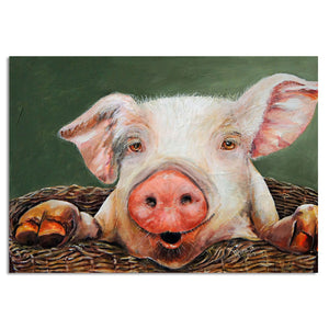 Peeking Pig - Vegan - Nature Inspired - Canvas Wall Art