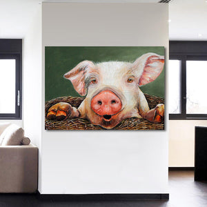 Peeking Pig - Vegan - Nature Inspired Canvas Wall Art