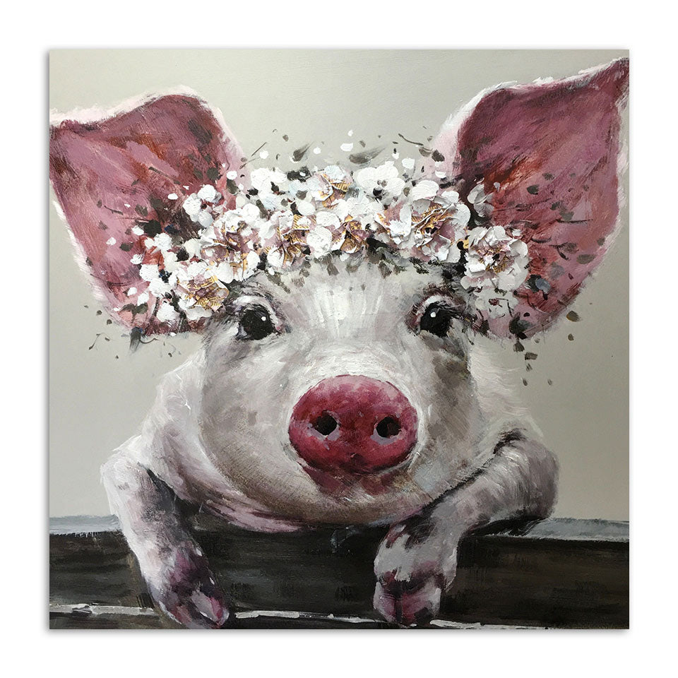 Flower Crown Pig Vegan Inspired Canvas Wall Art Rainbowgrove