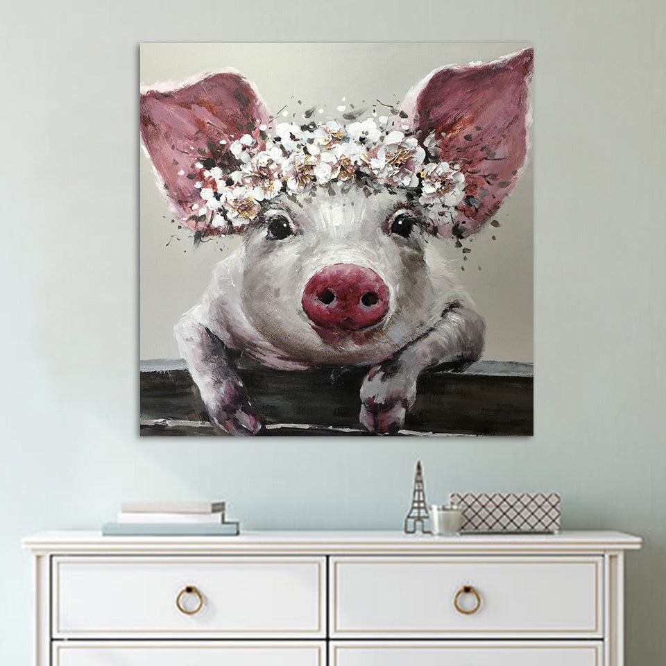 Flower Crown - Pig - Inspired by Nature - Animal Vegan Wall Art