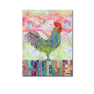 Rainbow Rooster - Vegan Inspired Wall Art - Gift Idea