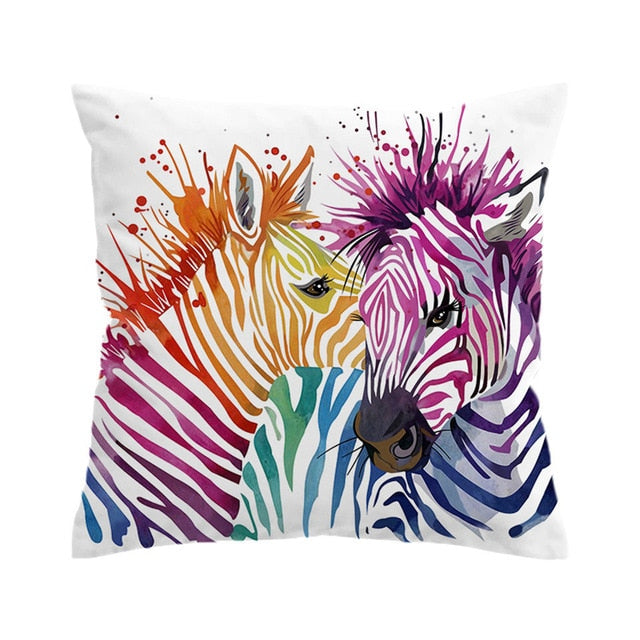 Rainbow Zebras Pillow Cover