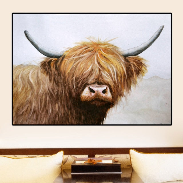Highland Cow Wall Art - Vegan Gift Idea