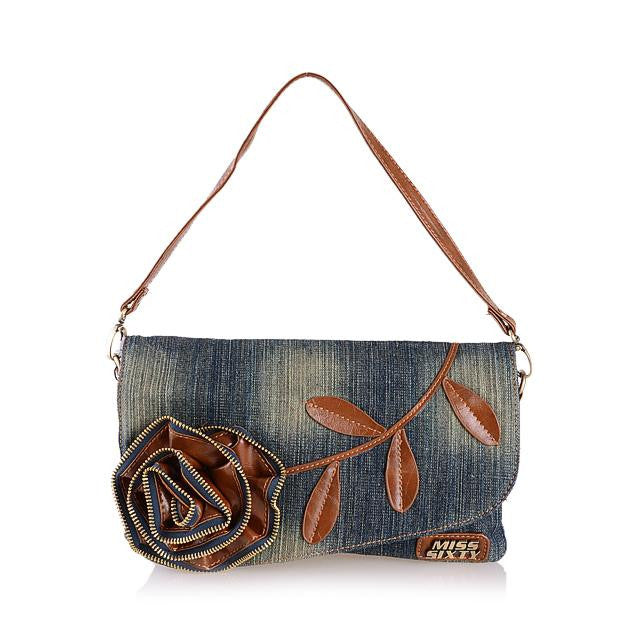 Vegan Denim Clutch - Vegan handbag - vegan gift - flower
