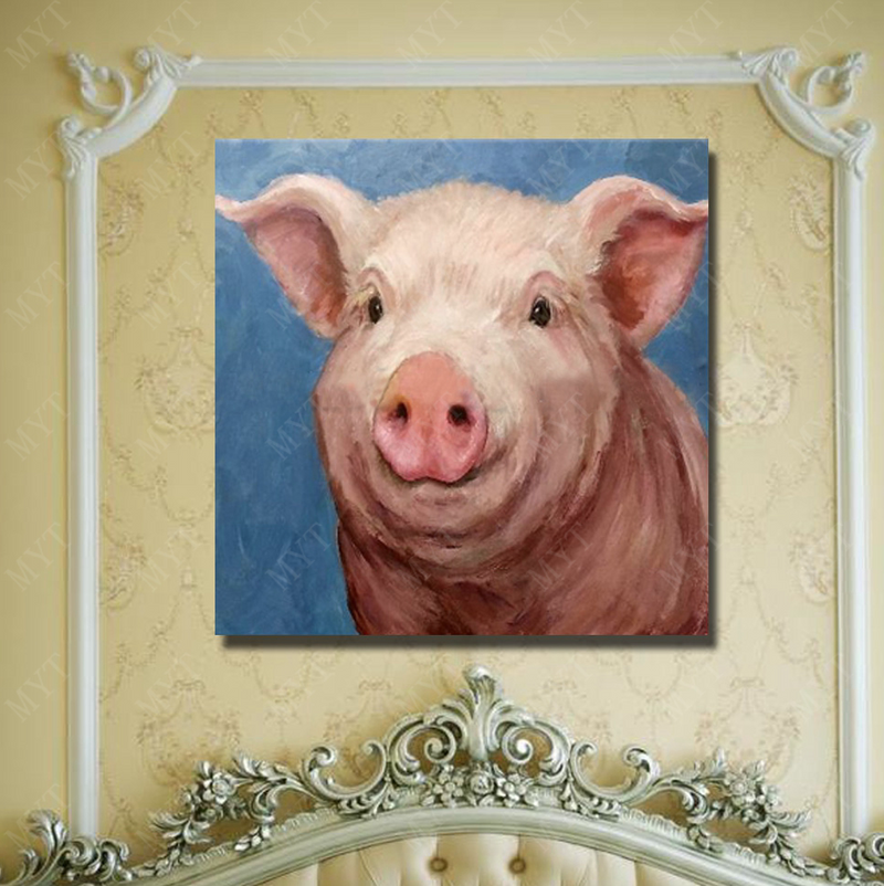 Smiling Pig, Vegan Wall Art, oil on canvas painting, gift idea