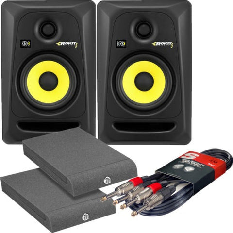 2x KRK ROKIT 5 RP5G3 RP5 G3 Pair with FREE Cables + Isolation Pads-UK Turntable Lab-DJ Decks