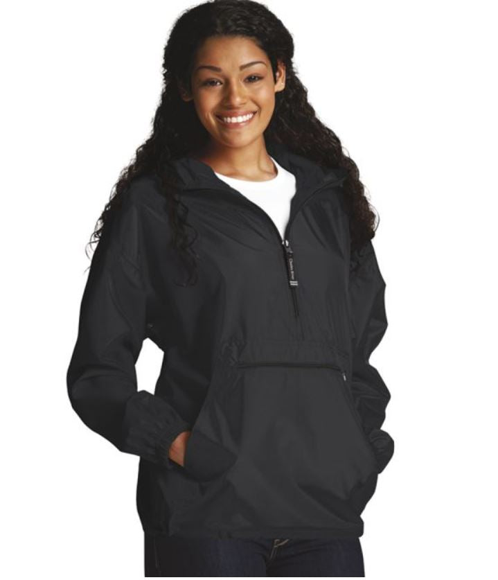 Black Adult Pac-N-Go Pull Over Rain Coat