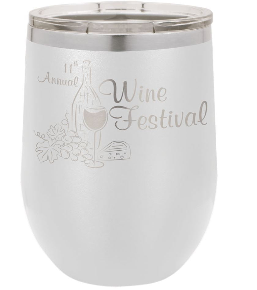 12 oz. Stainless Steel Vacuum Insulated Stemless Wine Tumbler w/Lid