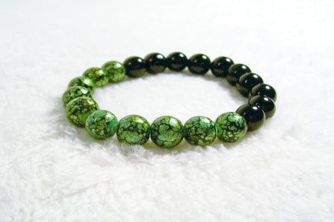 Green and Black Stretch Bracelet 1 by Chained Dolls
