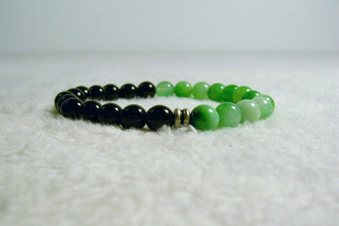 Black and Green Stretch Bracelet 2 by Chained Dolls