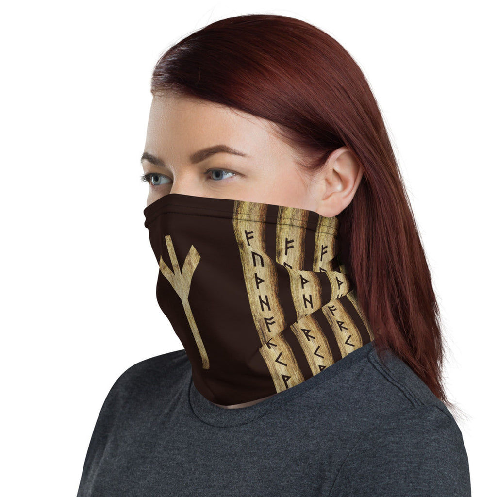 Algiz Brown Grunge Neck Gaiter