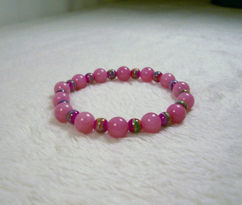 Pink and Fuchsia Stretch Bracelet from Chained Dolls
