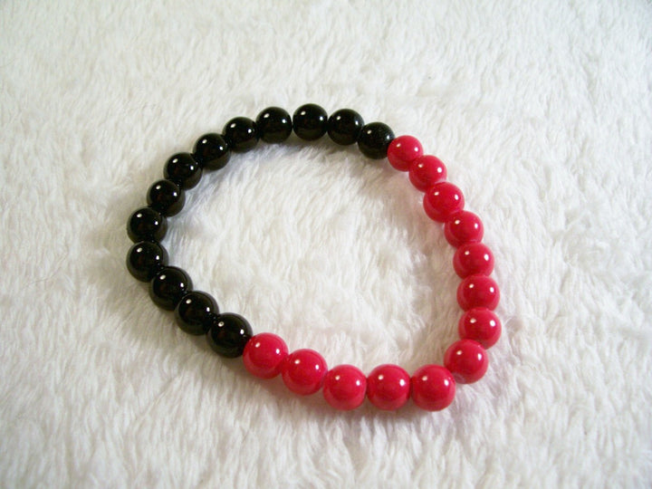 Red, Olive and Silver Chunky Stretch Bracelet from Chained Dolls