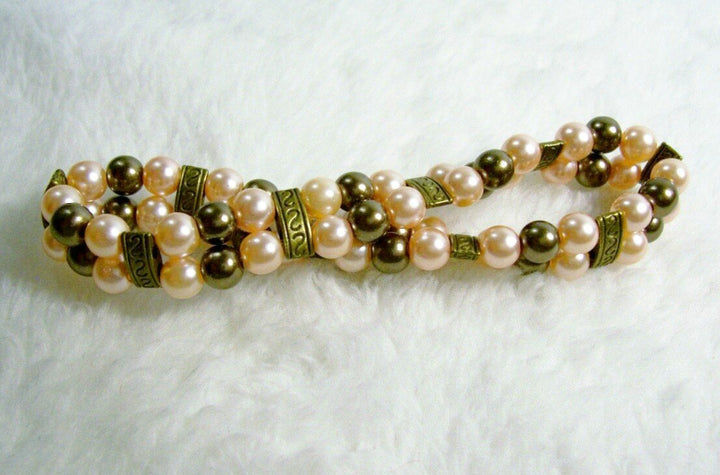 Champagne and Bronze Two Strand Stretch Bracelet from Chained Dolls