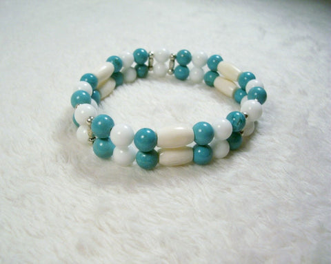 Bordeaux and White Stretch Bracelet from Chained Dolls