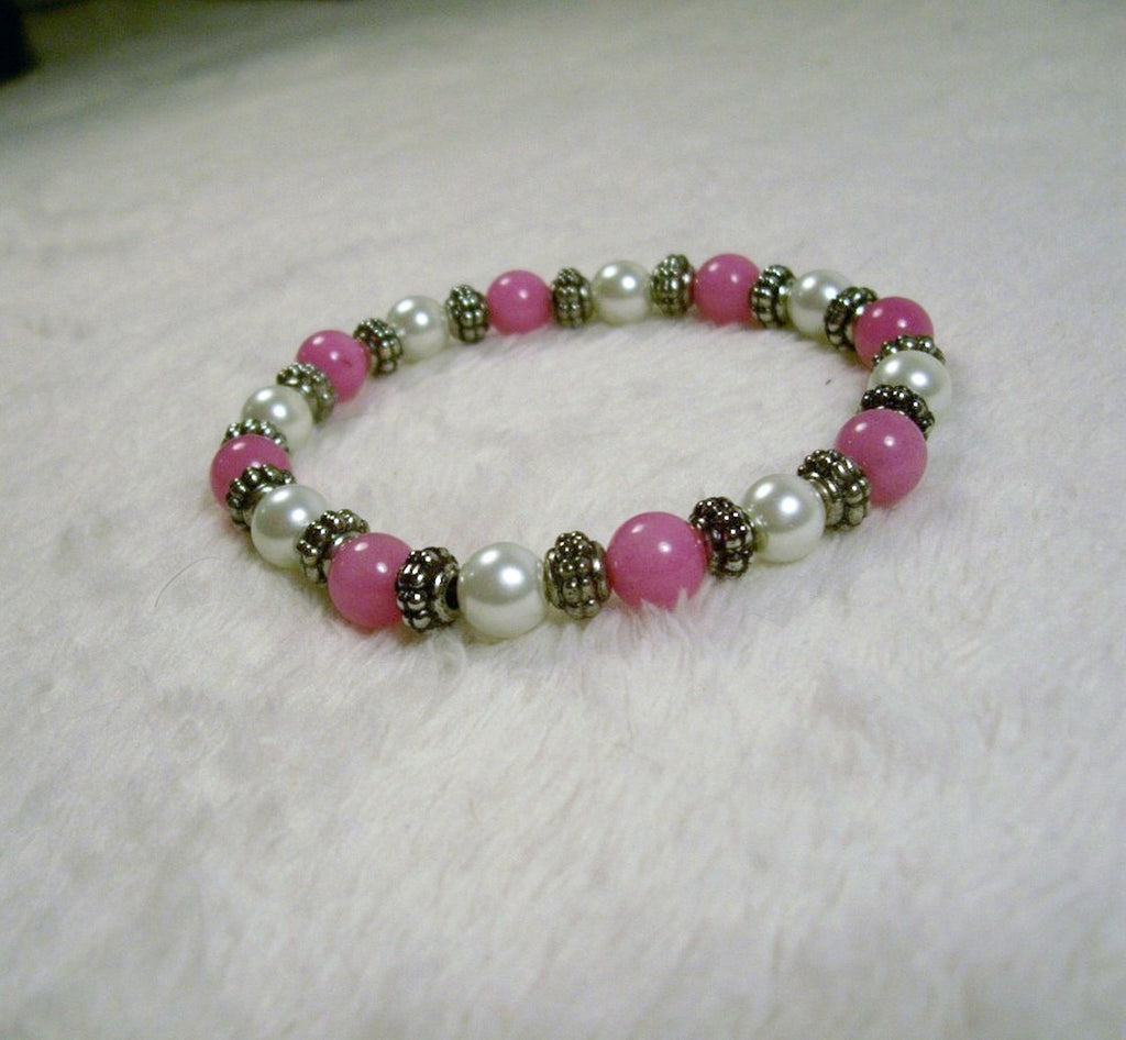 Pink and White Stretch Bracelet from Chained Dolls