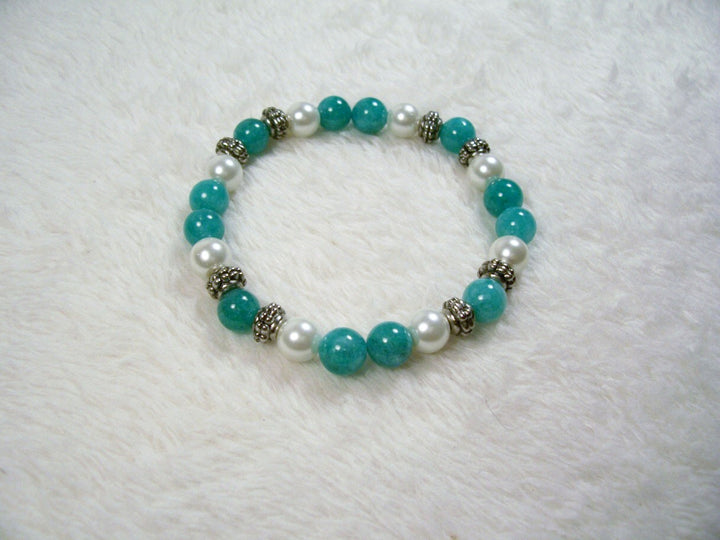 White and Turquoise Stretch Bracelet from Chained Dolls