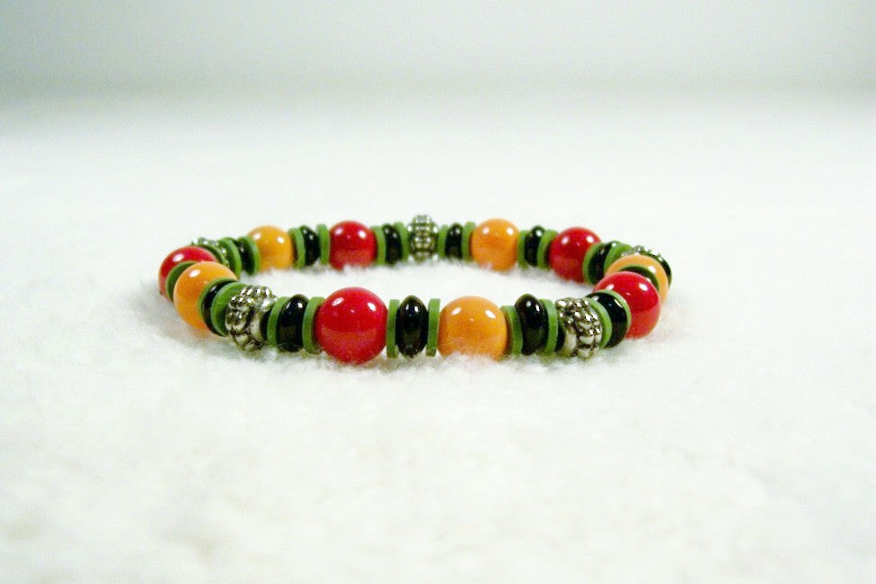 Red, Orange, Black and Olive Green Stretch Bracelet
