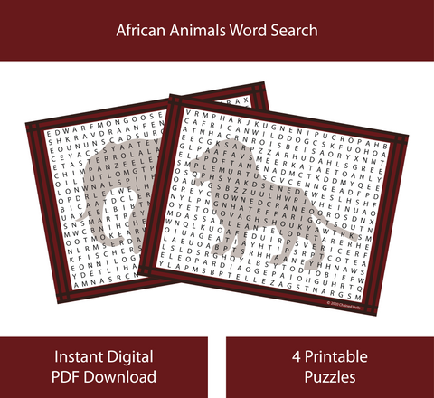 African Animals Word Search