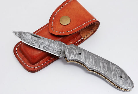 Damascus steel folding knife 1676