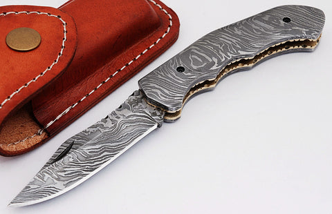 Damascus steel blade Pocket Knife 1687