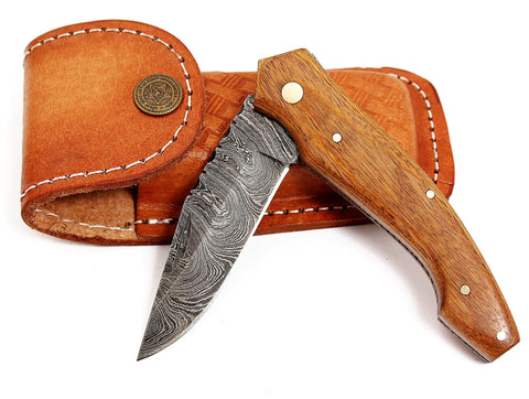 Damascus steel blade folding pen knife 2042