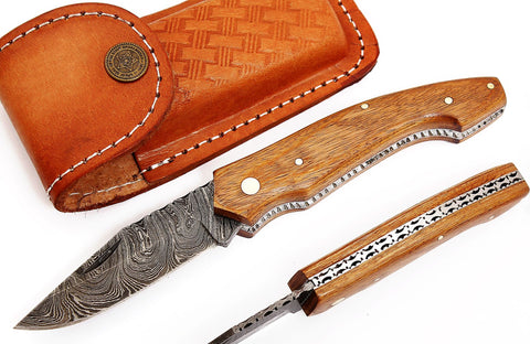 Damascus steel blade folding pen knife 2042 | Smith Online Studio