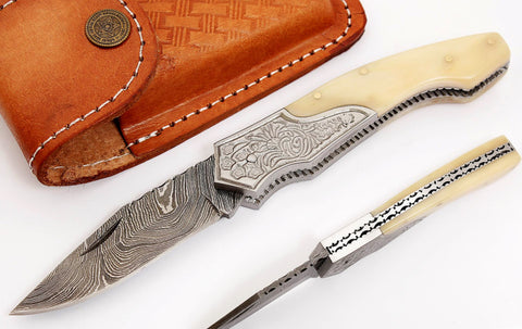 Handmade Damascus steel blade H folding knife 2046