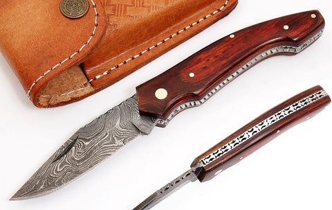 Damascus steel blade folding pen knife 2047 | Smith Online Studio