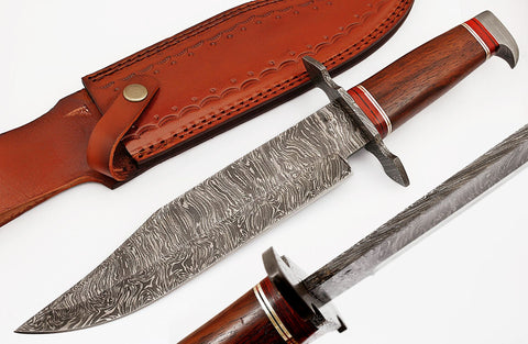 Handmade Damascus Bowie knife. 2031 | Smith Online Studio