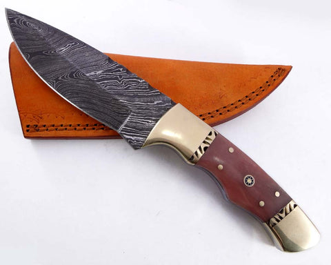 Damascus steel blade Huntin knife camping 2130
