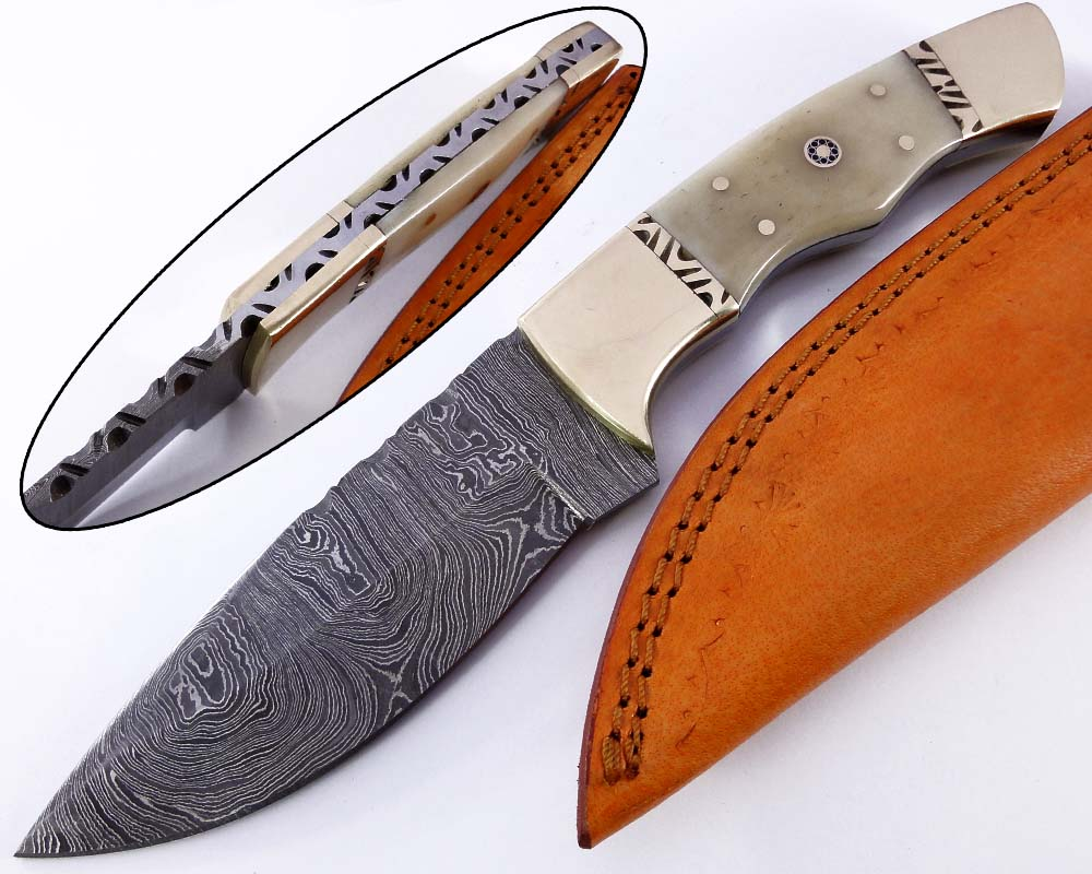 Damascus steel blade H knife 2134