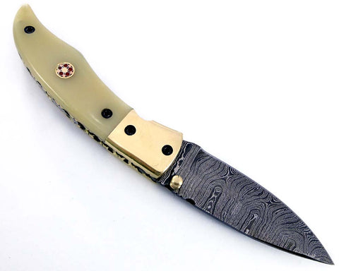 Damascus steel Pocket folding liner lock knife 2152