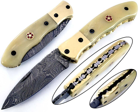 Damascus steel blade folding knife 2153