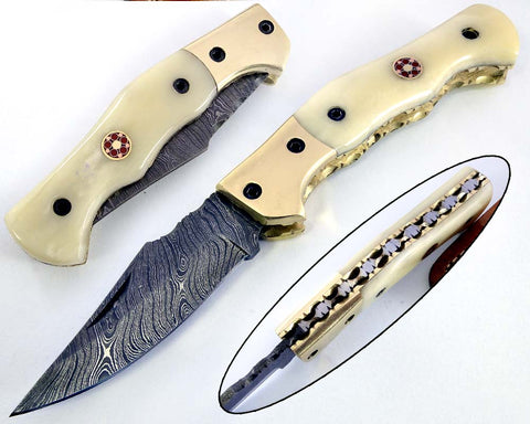 Damascus steel blade Pocket knife 2154
