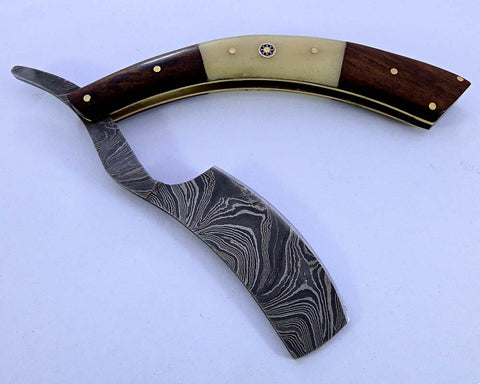 Damascus steel blade shaving straight razor 2161
