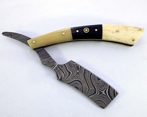 Damascus steel blade shaving straight razor 2162