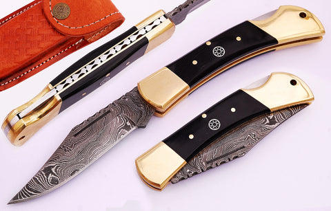Damascus lock knives for sale.