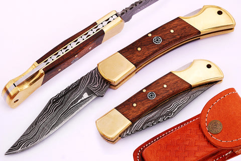 Damascus steel  Folding Knife 1671