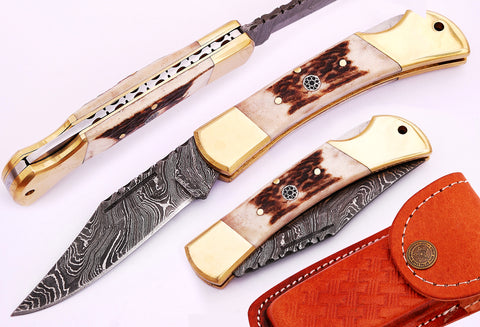 Damascus steel  blade folding back knife.