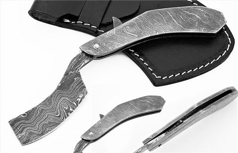 Damascus steel blade shaving straight razor 1585
