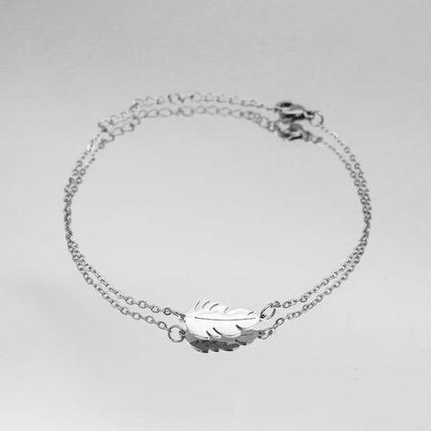 silver womens bracelet with feather charm