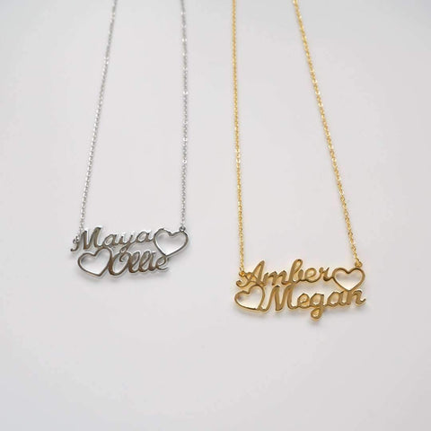 Unusual Valentine's Gifts - Heart Double Name Necklace from PRYA
