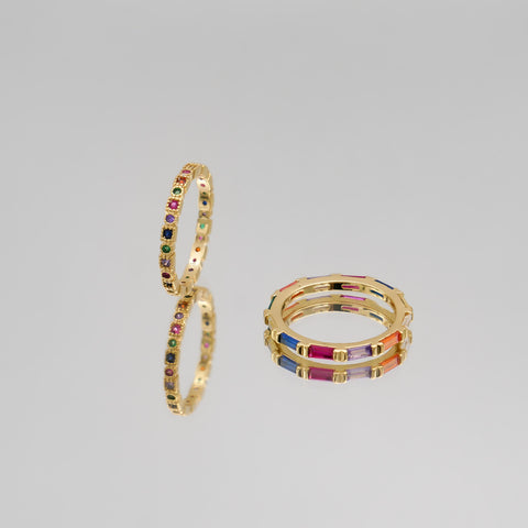 Rainbow collection of coloured cubic zirconia rings