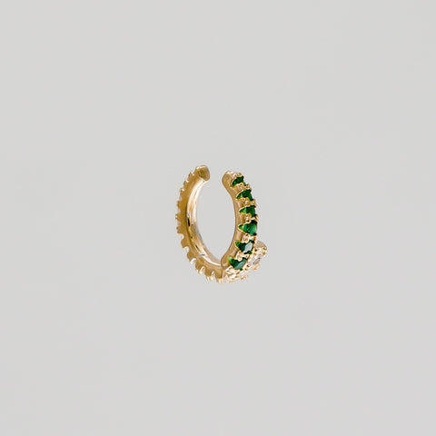 ear cuff in gold with green gems
