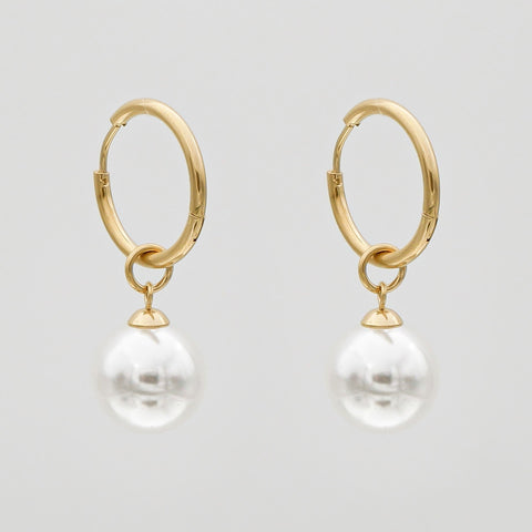gold, small hoop earrings with pearl charms