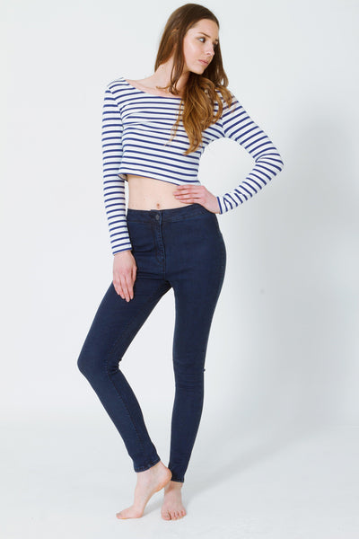 Jeggings - Ashley Navy Blue High Rise Jeggings