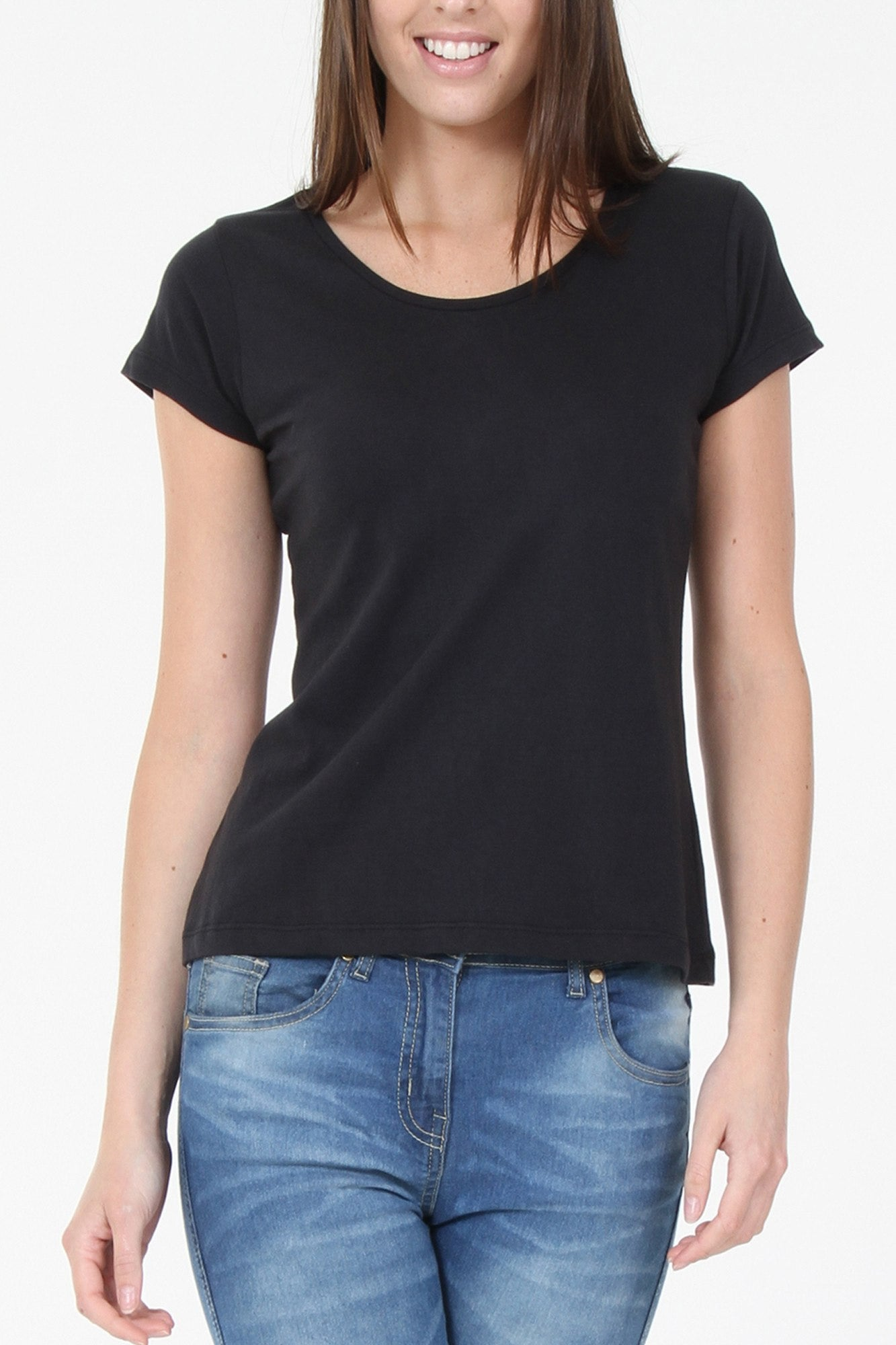T-Shirts - Black Round Neck Basic T-Shirt
